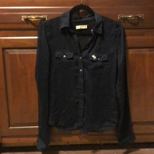 Abercrombie&Fitch Navy Sheer Button Front Blouse S